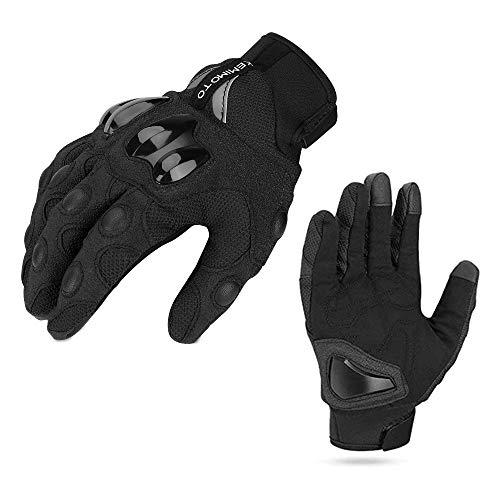 Motorrad Handschuhe Sommer Sport Handschuhe Touchscreen Handschuhe Warm Atmungsaktiv Anti RutschFahrad Handschuhe Sommerhandschuhen Ideal für Motorrad Radfahren Camping Outdoor Schwarz XL