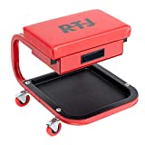 RTJ 250 lbs Capacity Mechanic Roller Seat with Drawer C-Frame Rolling Stool, Red