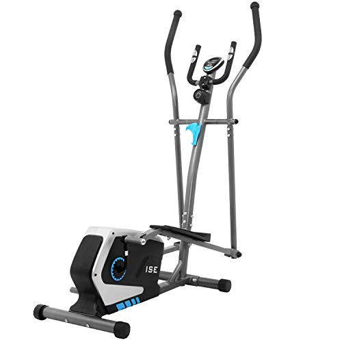ISE Vélo d'appartement Vélo elliptique Magnétique Cross Trainer,LCD Display, Ergomètre Compatible, 8 Niveaux de Résistance, Poids d'inertie de 8 KG
