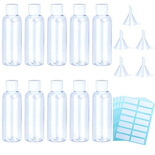 Aneco - Juego de botellas transparentes de viaje de plástico de 10 piezas, 100 piezas, botellas de tubo transparentes, transparentes, con 5 piezas de embudos pequeños y 4 piezas de etiquetas autoadhes