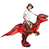 GOOSH Inflatable Dinosaur Blow Up Costumes Men Women Kid Riding a T REX Air Blow up Deluxe Halloween Funny Costume Godzilla Toy