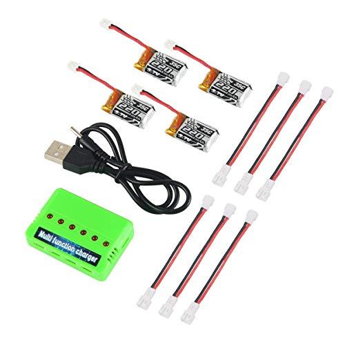 Makerfire 4 Pezzi 1S 3.7 V 220 mAh LiPo Batteria 35C con 6-in-1 Caricabatterie e Cavo per Eachine E010 JJRC H36 NIHUI...