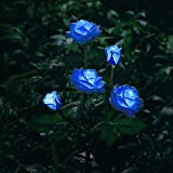 XLUX New Material Outdoor Realistic Solar Powered Rose Lights Flower Stake, for Garden Patio Yard Pathway Decoration, Blue