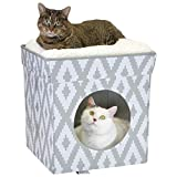 Kitty City Large Cat Bed, Stackable Cat Cube, Indoor Cat House/Cat Condo, Cat Scratcher, Cushion