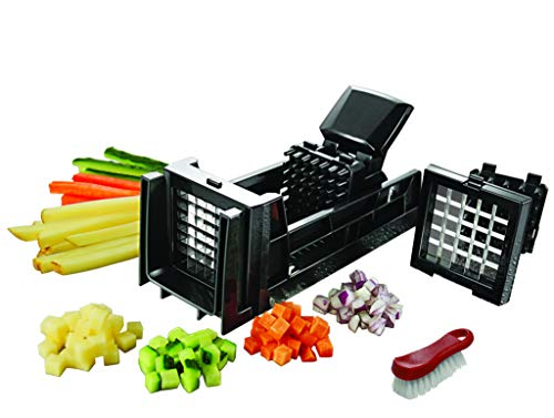 Tiger Chef French Fry Cutter and Easy Vegetable Dicer Chopper With 2 Interchangeable Blades – Also Great for Onions, Carrots, Cucumbers and more – Comes with a Cleaning Brush