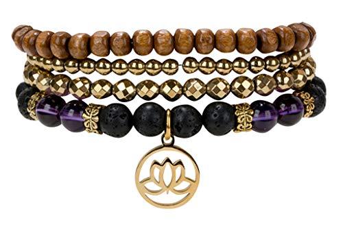 SPUNKYsoul Lotus New Beginnings Bracelet Hematite Amethyst...