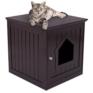 Internet's Best Decorative Cat House & Side Table - Cat Home Nightstand - Indoor Pet Crate - Litter Box Enclosure (Espresso)