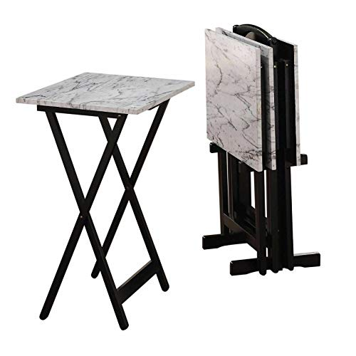 Manoch New 5-Pieces Faux Marble TV Snack Food Tray Set Stand Trays Dining Cart Storage Individual Tray (Open): 26.25' H x 19' W x 15.75' D Overall Dimensions: 26.38' H x 18.88' W x 15.75' D, 38 lbs