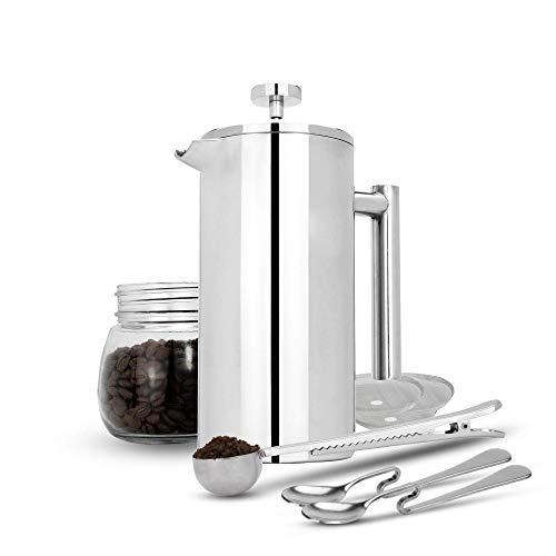 Maison & White 350ml Cafetería francesa de prensa   Prensa de café de acero inoxidable   GRATIS filtros adicionales / cucharas de medir