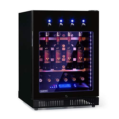 KLARSTEIN First Class 36 Pro - Dispenser e Frigo per Vino, Volume: 36 Bottiglie/135 Litri, 4 Dispenser, Raffreddamento a Compressione, Single Zone, Temperatura: 5-22 C, Controllo Touch, Nero