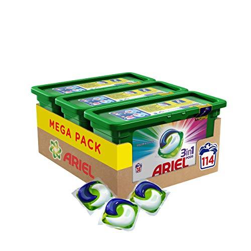 Ariel 3en1 Pods Detergente En Cápsulas, Colour & Style, 114Lavados, Limpieza Increíble, Limpia, Quita Manchas, Ilumina