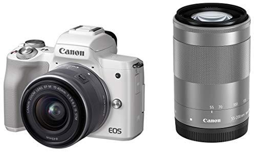 Canon ミラーレス一眼カメラ EOS Kiss M(ホワイト)・ダブルズームキット EOSKISSMWH-WZK