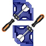 Corner Clamp,90 Degree Right Angle Clamp for Woodworking,Aluminum Alloy Square Clamp,Adjustable Swing Jaw,Carbon Steel Threaded Rod Wood Working Jigs for Metal Welding,Photo Frame,Cabinet,Drawer