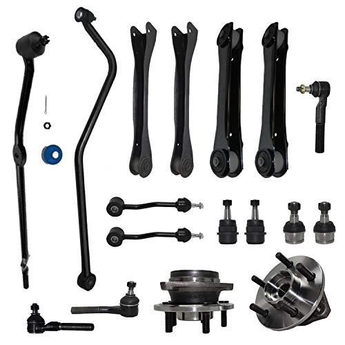 Detroit Axle - 4WD Front Upper Lower Control Arms + Wheel Bearings & Hubs + Outer Tie Rods + Ball Joints + Sway Bars + Track Bar Replacement for 2000-2006 Jeep Wrangler TJ - 17pc Set