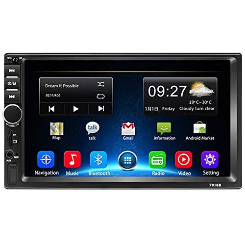 Podofo Autoradio 2 Din Android 8.1 Navigation GPS de Voiture Écran Tactile 7 Pouces 1080P Quad Core Radio multimédia stéréo 2G + 32G avec Bluetooth, WiFi, USB, Lien Miroir, Radio FM + Caméra arrière