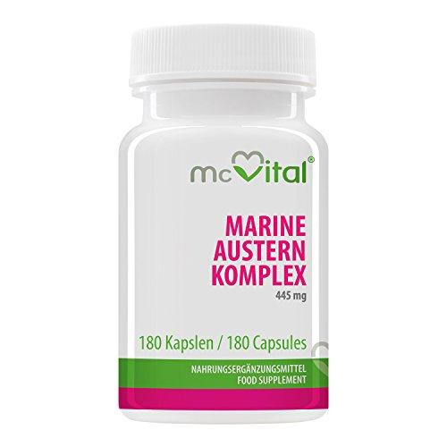 McVital Marine Austern Komplex 445 mg • 180 Kapseln • Mit Vitamin C & E • Made in Germany
