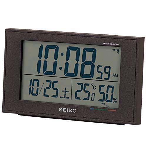 セイコークロック 置き時計 02:黒 本体サイズ:8.5×14.8×5.3cm 電波 デジタル カレンダー 快適度 温度 湿度