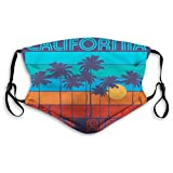 Comfortable Windproof mask, Theme of Surfing with Text California Surf Rider Vintage Design Sunset Trees,Printed Facial Decorations for Adult Size:M