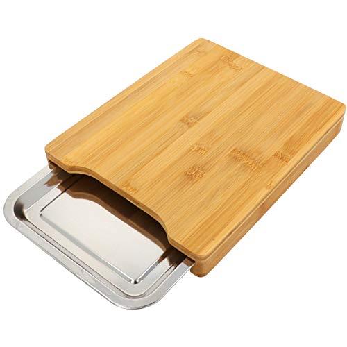 Smartweb Holz Schneidebrett mit Edelstahl Auffangschale Schneidbrett Holzbrett 35 x 24 x 4cm Küchenbrett mit Auffangbehälter Bambusbrett für Veganes und Vegetarisches Kochen