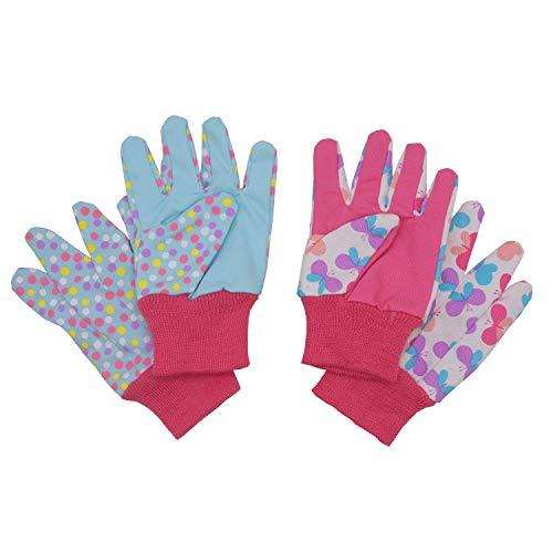 Guanti da giardinaggio per bambini di et 5 6 anni, 7 8 anni, 2 paia di guanti da giardino in...