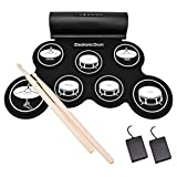 Electronic Drum Set, Roll Up Drum Practice Pad with Headphone Jack Built-In Speaker (DC Powered) Digital Touch 7 Labeled Drum Pads 2 Foot Pedals Up to 10H Playing Time, Holiday Gift for Kids