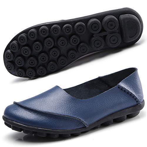 Hsyooes Mocasín de Cuero Mujer Loafers Cómodo y Antideslizante Barco Zapatos para Mujer Zapatos de Conducción