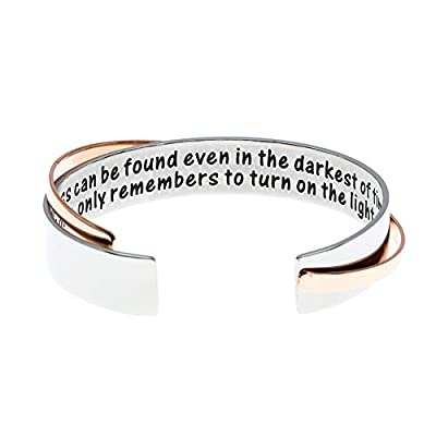 """This is a great quote from a wise wizard. It says """"Happiness can be found even in the darkest of times, if one only remembers to turn on the light."""" Love it! The cuffs come in 1/2"""" and are 6 3/4"""" long before being bent, so they are able to fit most w..."""