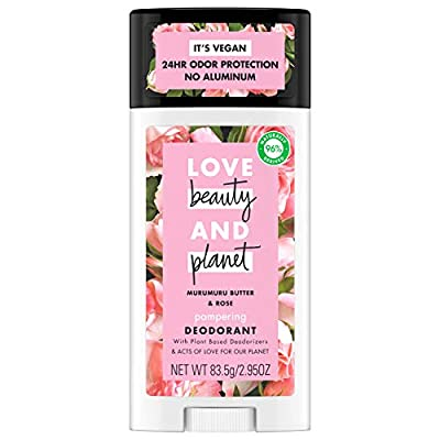 Our Love Beauty And Planet Aluminum Free Deodorant, Murumuru Butter and Rose 2.95 oz is an aluminum free deodorant with plant based deodorizers, for 24 hour odor protection Made with ethically sourced and hand-picked Bulgarian rose extract, to keep y...