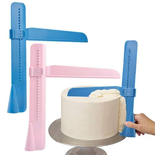 2 Raspador de pasteles para aplicar azúcar en tartas, ajustable DIY hornear, decoración, herramientas para pasteles, crema, plástico, espátula para tartas, fondant, alisador, Cakescraper