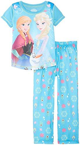 Disney Big Girls' Frozen Elsa Anna and Olaf Short Sleeve Pant Set, Blue