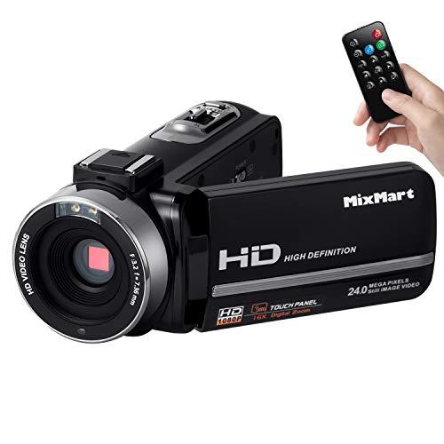 MixMart Videocámara, Camcorder FHD 1080p con 30FPS 24MP Zoom Digital 16X IR Visión Nocturna Digital Videocámara con Control Remoto Pantalla LCD táctil y rotación de 270 Grados
