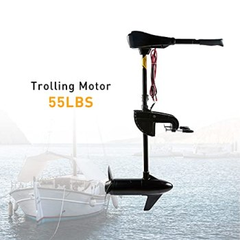 Cloud Mountain 36/40/46/50/55/60/86 LBS Thrust 8 Speed Electric Trolling Motor for Fishing Boats Saltwater Transom Mounted with Adjustable Handle