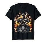 セクシーなピンナップガールスケルトンライダーオートバイギフトバイカー Tシャツ