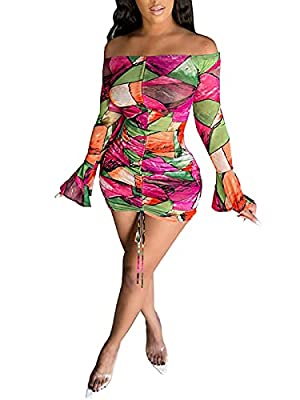 Material: Polyester, High Quality Stretchy Fabric, Soft, Comfortable, Breathable and Skin-Friendly. Design: Off Shoulder, Adjust Drawstring, Ruched Front, Backless, Bell Sleeve, Long Sleeve, See Through, Slim Fit, Club Mini Dress for Women, it's very...