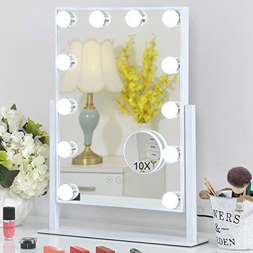 FENCHILIN Lighted Makeup Mirror Hollywood Mirror Vanity Makeup Mirror with Light Smart Touch Control 3Colors Dimmable Light Detachable 10X Magnification 360Rotation(White)
