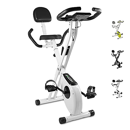 bigzzia Exercise Bike,Upright and Foldable Stationary Bike with Magnetic Resistance/LCD Monitor/Pulse Sensors,Fitness Exercise for Home Gym(Black and White)