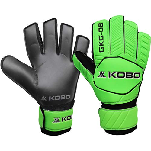 Kobo GKG-08 Football/Soccer Goalie Goal Latex Keeper Gloves, Strong Grip for The Toughest Saves, Protection, Comfort & Durable, 8, Without Finger Save