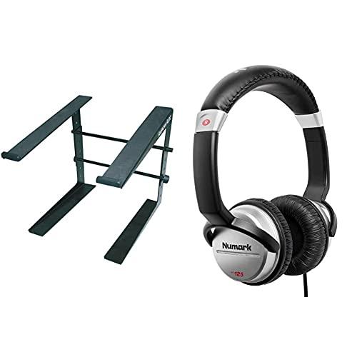 American Audio 1154000009 - Table Top Stand Supporto per Portatile & Numark HF125 - Cuffie Portatili per DJ con Cavo da 1,80 m, Driver da 40 mm per Risposta in Frequenza Estesa