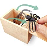 AHCAI GIIOASA Rubber Spider Prank Box,Handcrafted Wooden Prank Box, Spider in Box Prank Hilarious Box Surprise Toy and Gag Gift Practical Joke-Single