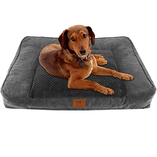 American Kennel Club AKC Memory Foam Sofa Pet Bed, Gray Popcorn Fur,X-Large (AKC-1882 Gray)