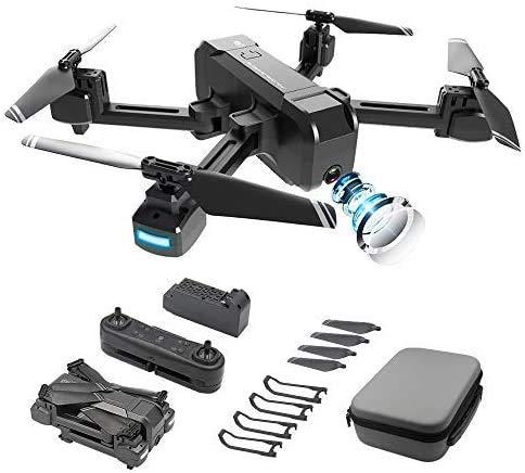 Distanza del telecomando ultra lunga Potensic GPS Drone con Telecamera 1080P HD Doppia Fotocamera Grandangolo Regolabile,Ritorno a casa con un tasto, ritorno a casa batteria scarica, funzione follow