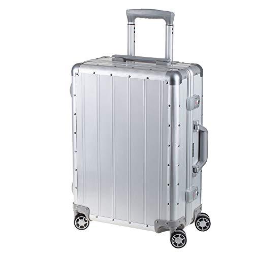 Alumaxx 45170 - Reisekoffer Orbit, Rollkoffer aus Aluminium, Trolleykoffer mit 4 doppelten 360° Leichtlaufrollen, silberner Koffer ca. 54 cm