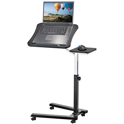 Tatkraft Joy Tavolo Porta Laptop su Ruote, Nero, Regolabile in Altezza con Piattaforma per Mouse