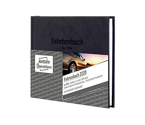 AVERY Zweckform 222D Fahrtenbuch (für PKW, Hardcover vom Finanzamt anerkannt, A6 quer, 96 Seiten insgesamt 235 Fahrten, mehr Platz pro Eintrag, für Deutschland und Österreich)
