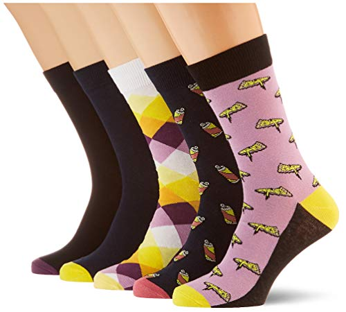 JACK & JONES JACPURPLE Socks 5 Pack Calzini, Dettagli: Lavanda, Lavanda, Blu Navy, Taglia unica Uomo
