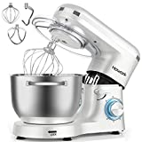 HOWORK Stand Mixer, 660W Electric Kitchen Food Mixer With 6.55 Quart Stainless Steel Bowl, 6-Speed Control Dough Mixer With Dough Hook, Whisk, Beater (6.55 QT, Pearl White)