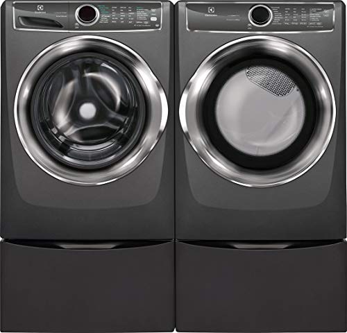 Electrolux Titanium Front Load Laundry Pair with EFLS627UTT 27' Washer, EFME627UTT 27' Electric Dryer and Two EPWD257UTT Pedestal