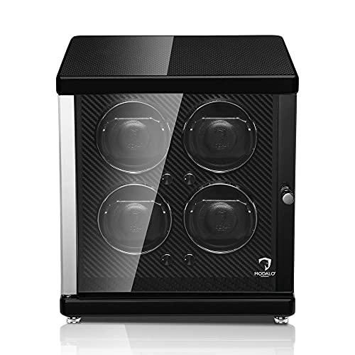 Modalo Uhrenbeweger für Automatikuhren 4 Uhren Watch Winder Box Ambiente mit Massivholz, Klavierlack und LED-Beleuchtung…