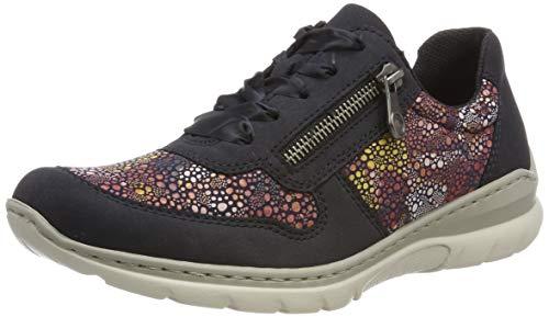 Rieker L3221-15, Zapatos de Cordones Derby para Mujer, Azul (Pazifik/Ozean/Flower 15), 41 EU