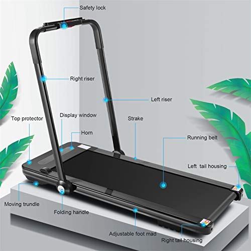 fioleken 2 in 1 Under Desk Treadmill for Home,2.25HP Electric Folding Treadmill with Bluetooth Speaker Remote Control & 12 Preset Modes,Installation-Free 8